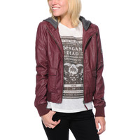 Empyre Girls Kingston Maroon Faux Leather Bomber Jacket at Zumiez : PDP
