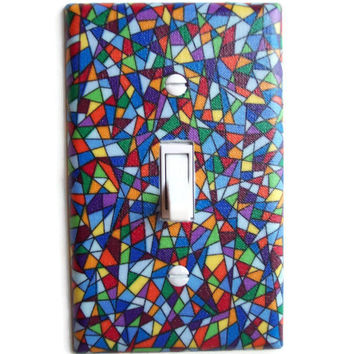 Stained Glass Single Toggle Switch Plate