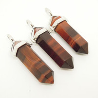 1PC Natural Red Tiger Eye Point Pendulum Pendant Healing Crystal Point Pendulum Best Friend Gift