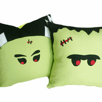 Halloween Pillows, Freaky Frankenstein and Bride, Pair, Set of Two 2, Green Monster Faces, Bride of Frankenstein, Scary Cushion Covers 16x16