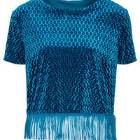 Embossed Velvet Fringe Tee - Tops - New In This Week  - New In