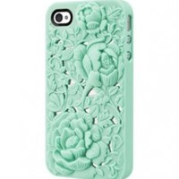 New 3d Sculpture Rose Flower for Iphone4 4s - Green:Amazon:Cell Phones & Accessories