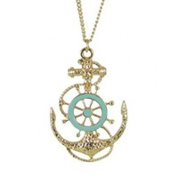 Ship Wheel and Anchor Necklace, Blue