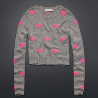 Cropped Hearts Sweater