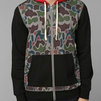 Urban Outfitters - Charles & 1/2 Colorblock Camo Zip-Up Hoodie Sweatshirt