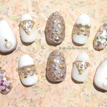 White Hot Summer gold Summertime beach 3d false fake nail art with studs, shells, mermaid glitter
