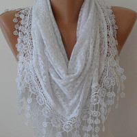 White Cotton Scarf with White Lace Trim Edge - Headband - Cowl -Transparent Leopard Fabric - Triangular Scarf
