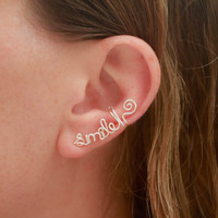 Custom Name/Word Ear Cuff  Sterling Silver by wirewrap on Etsy