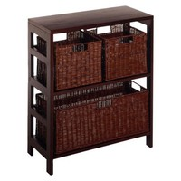 3 Piece Wire Baskets with Wide Shelf - Espresso