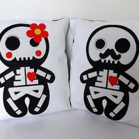 His & Hers Pillows Day of the Dead Wedding Cushions