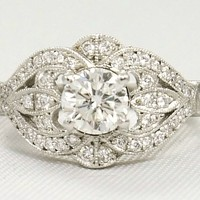 Engagement Ring - Round Diamond Vintage Engagement ring 0.44 TCW in 14K White Gold - ES935BRWG