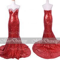 Mermaid Strapless Sweetheart with Crystal Sequined Red Prom Dresses, Red Evening Gown, Wedding Party Dresses, Sequined Formal Gown