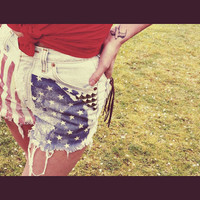 American Flag High Waist Levis Vintage Cut Off by RubyStarlingCo