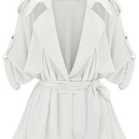 ROMWE | Lapel Self-tied Pleated Sheer White Coat, The Latest Street Fashion
