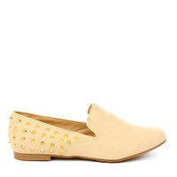 Robin Studded Flats in Beige and Gold :: tobi