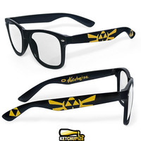 Legend of Zelda glasses - custom Wayfarer clear lens geeky glasses unique hand painted - Zelda -Triforce - Hylian seal - Gold and black