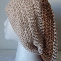 Toasted Almond Striped Crocheted  Slouchy Beret/Hat