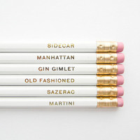 Classic Cocktails Pencils, White & Gold- Set of 6