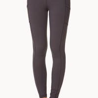 FOREVER 21 Side-Pocket Skinny Workout Leggings Black/Citron