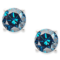14k White Gold Earrings, Treated Blue Diamond Stud Earrings (1 ct. t.w.) - Earrings - Jewelry & Watches - Macy's