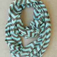 Chocolate & Mint Chevron Circle Scarf [4526] - $16.00 : Vintage Inspired Clothing & Affordable Dresses, deloom | Modern. Vintage. Crafted.