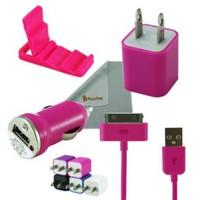Rasfox Pink Tiny Home Power Adapter, Car Charger & USB Cable For Apple iPhone 4S 4 3GS 3G, iPod Touch 1/2/3/4/5 ,Nano, Video, Classic and more:Amazon:Cell Phones & Accessories