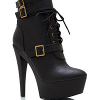 Triple-Buckle-Faux-Leather-Booties BLACK CAMEL - GoJane.com