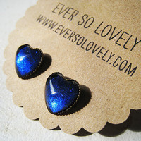 navy blue heart earrings by EverSoLovely