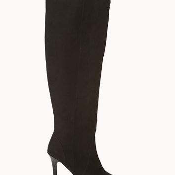 FOREVER 21 Sleek Over-the-Knee Boots Black