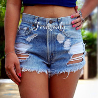 High waisted denim shorts high wasted distressed ripped jean cut offs by Jeansonly