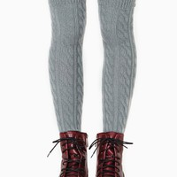 Cable Knit Knee High Socks