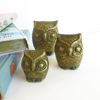 Vintage Brass Owls 3 Metal Bird Figurines Home by ItchforKitsch
