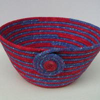 Red and Blue Fabric Bowl, Coiled Fabric, Basket