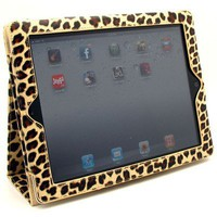 Gold Leopard Design Vinyl Portfolio Cover Case with Stand and Wake up / Sleep Function for Apple Ipad 2 / New Ipad / Ipad 3   Premium Anti Glare Lcd Screen Guard