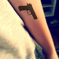 InknArt Temporary Tattoo - 2pcs GUN wrist quote tattoo body sticker fake tattoo wedding tattoo small tattoo