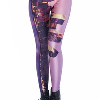 ROMWE | City In The Sea Printed Leggings, The Latest Street Fashion