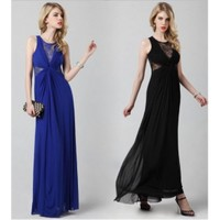 Sheath Straps Round Neck Empire Lace Embroidery Georgette Black/Deep Blue Evening Dress [713302] - US$109.00 : AAAweddingdress.com - Free shipping for all