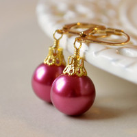 NEW Raspberry Glass Pearl Earrings, Christmas Balls, Gold Plated Lever Earwires, Fun Holiday Jewelry