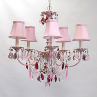 Aralie Chandelier in Pink Blush with Gold Antiquing