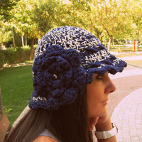 Blue wool crochet hat, wool cloche hat,flowers hat,handmade hat,special edition