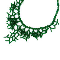 Dark Green Necklace. Bridesmaid Necklace. Beadwork. Wedding Necklace.