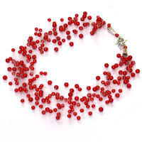 Red Necklace. Bridesmaid Necklace. Wedding Necklace. Beadwork