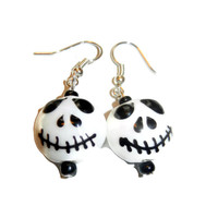 Halloween Skull Jack Skellington Lampwork Glass Dangle Earrings