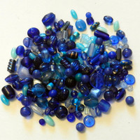 Blue Destash Mix of Beads, 200 Beads
