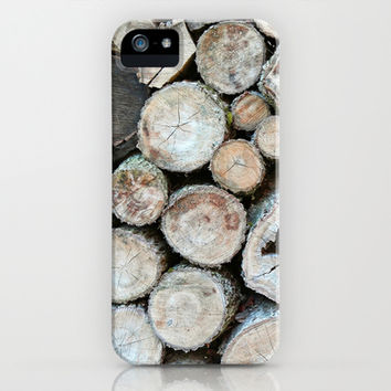 Rustic Beige Brown Logs on Woodpile iPhone & iPod Case by Brooke Ryan Photography