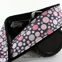Polka Dot dSLR Camera Strap, Grey, Muted Pink and Gray, SLR, 133