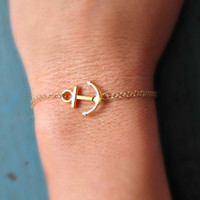 Gold Anchor Bracelet Gold Filled chain Bridesmaid Jewelry Girl Friend Gift nautical jewelry Navy Gift Cruise theme