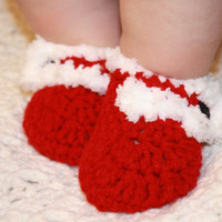 Christmas Red and White Santa Baby Booties- Photo Prop Ready to ship
