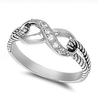 Sterling Silver Infinity Rope Ring with Clear Cubic Zirconia Stones:Amazon:Jewelry