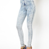 ASOS Uber High Waist Denim Tube Pants in Bleach Wash at asos.com
